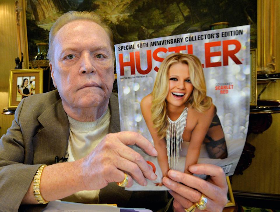 Porn mogul Larry Flynt posed with an issue of Hustler magazine for the 40th anniversary of the magazine in 2014.