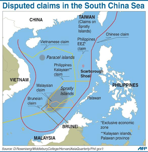 Map of disputed claims in the South China Sea (AFP Photo/)