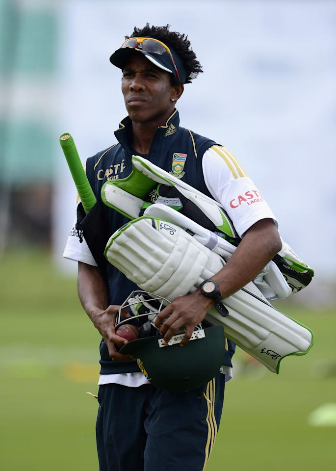 LONDON, ENGLAND - JULY 17:  Thami Tsolekile of South Africa  during a nets session at The Kia Oval on July 17, 2012 in London, England.  (Photo by Gareth Copley/Getty Images)