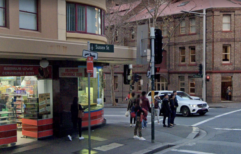 Emergency services were called to a hotel on Sydney's Sussex Street, following reports of a woman falling from a tenth floor balcony. Source: Google Maps
