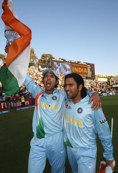 The Indian side wore this jersey in the 2007 World Cup and the 2007 World T20 as well, which they won