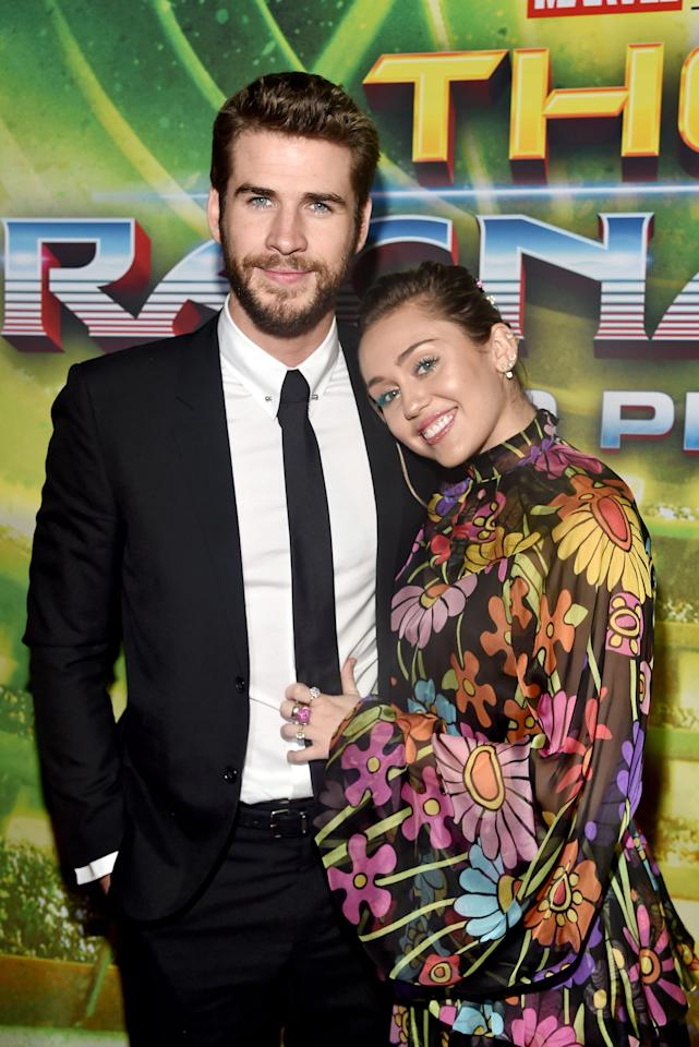 """<p>Miley and Liam supported his brother Chris at the <a href=""""https://www.popsugar.com/celebrity/Miley-Cyrus-Liam-Hemsworth-Thor-Ragnarok-Premiere-44132340"""" class=""""ga-track"""" data-ga-category=""""Related"""" data-ga-label=""""https://www.popsugar.com/celebrity/Miley-Cyrus-Liam-Hemsworth-Thor-Ragnarok-Premiere-44132340"""" data-ga-action=""""In-Line Links""""><strong>Thor: Ragnarok</strong> premiere</a> in Oct. 2017.</p>"""