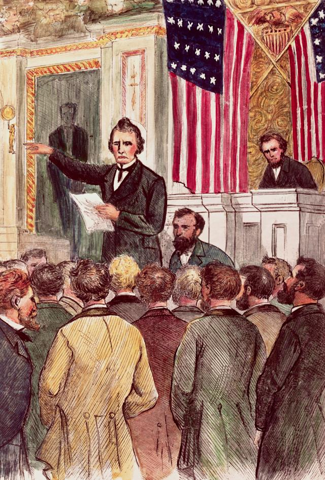 Thaddeus Stevens closes the debate on the Andrew Johnson impeachment in the House in March 1868.