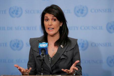FILE PHOTO: U.S. Ambassador to the United Nations Nikki Haley speaks at UN headquarters in New York, NY, U.S., January 2, 2018. REUTERS/Lucas Jackson/File Photo
