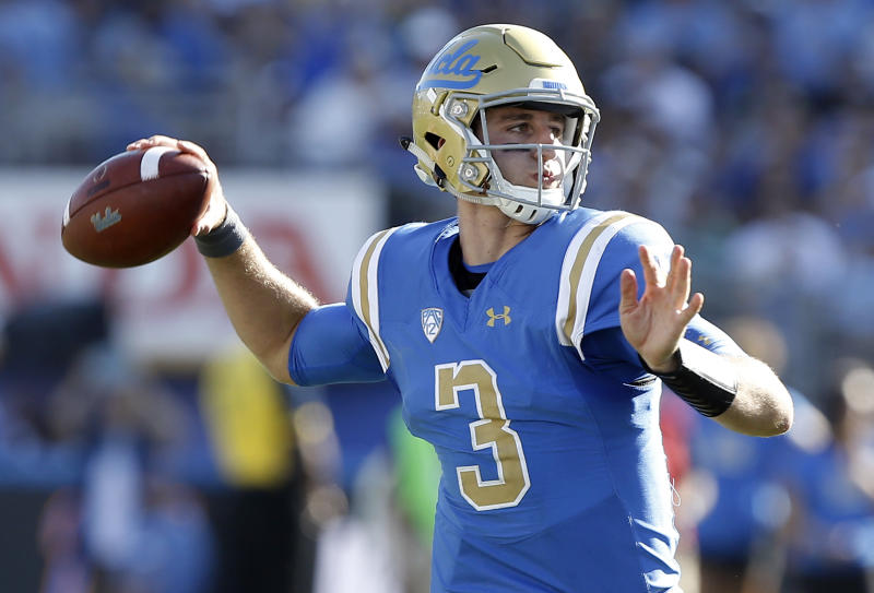 Josh Rosen will get to show off his arm in passing drills Saturday at the NFL scouting combine. (AP)