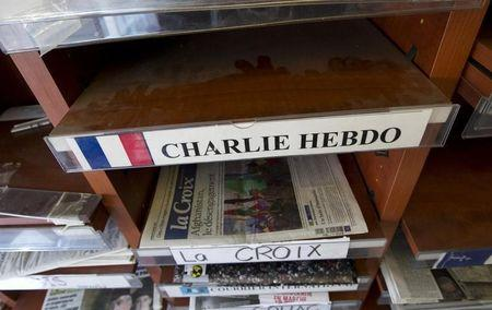 An empty Charlie Hebdo shelf seen in a magazine store in Montreal