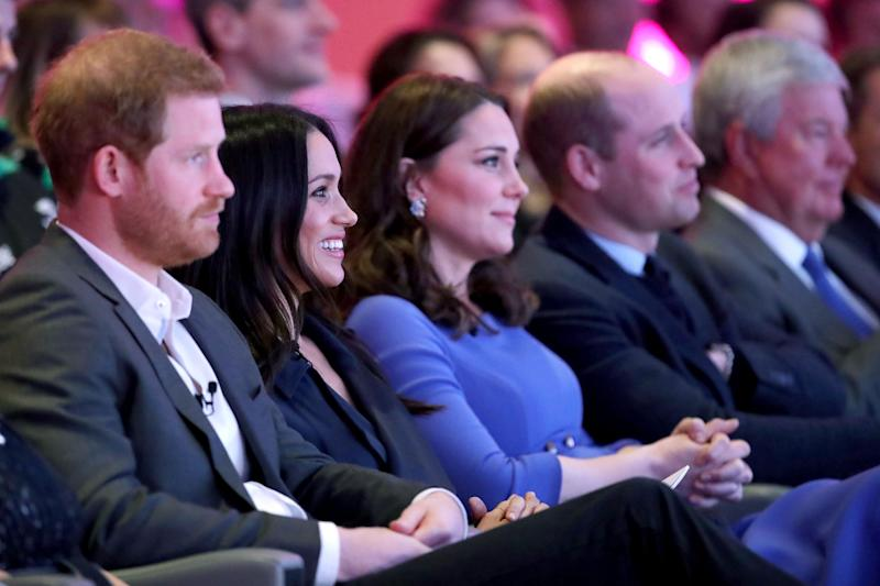 File photo dated 28/02/18 of (left to right) the Duke of Sussex and the Duchess of Sussex with the Duchess and Duke of Cambridge during the first Royal Foundation Forum in central London. The Duchess of Sussex is quitting royal duties 682 days after she married into the Windsors.