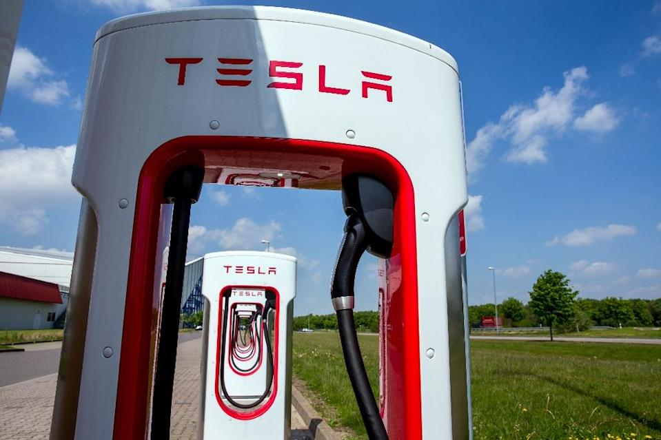 Tesla charging stations for electric cars are pictured in Wittenburg, northeastern Germany (AFP Photo/Jens Büttner)