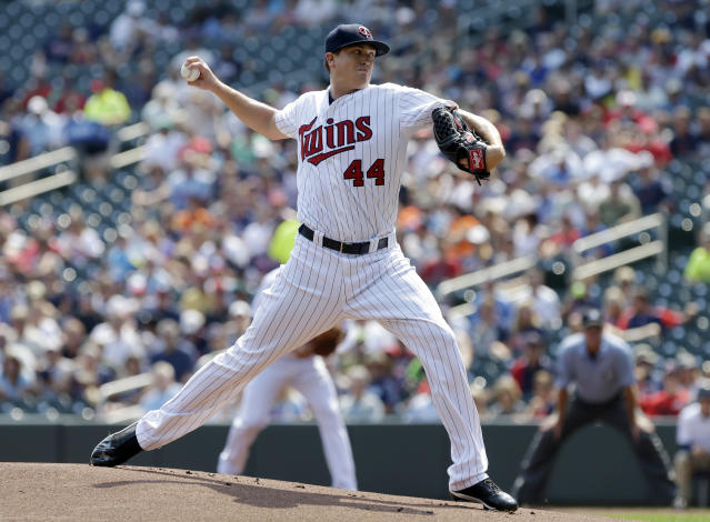 Minnesota Twins pitcher Kyle Gibson throws against the New York Mets in the first inning of a baseball game, Monday, Aug. 19, 2013 in Minneapolis. (AP Photo/Jim Mone)