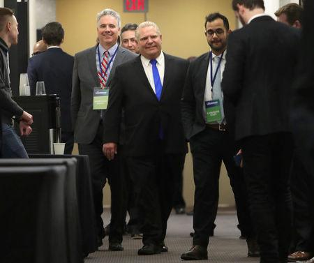 Progressive Conservatives leadership race candidate Doug Ford walks the hallway while waiting for election decision after results were put on hold due to a ballot discrepancy in Markham, Ontario, Canada, March 10, 2018.   REUTERS/Fred Thornhill