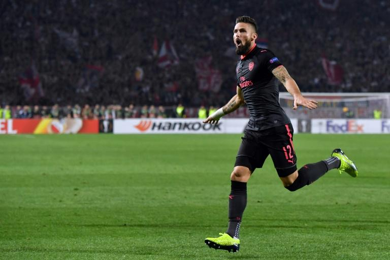 Arsenal's forward Olivier Giroud celebrates after scoring a goal during the UEFA Europa League football match against Belgrade October 19, 2017 in Belgrade