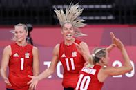 <p>Andrea Drews #11 of Team United States celebrates with teammates after the play against Team Italy during the Women's Preliminary - Pool B volleyball on day ten of the Tokyo 2020 Olympic Games at Ariake Arena on August 02, 2021 in Tokyo, Japan. (Photo by Toru Hanai/Getty Images)</p>