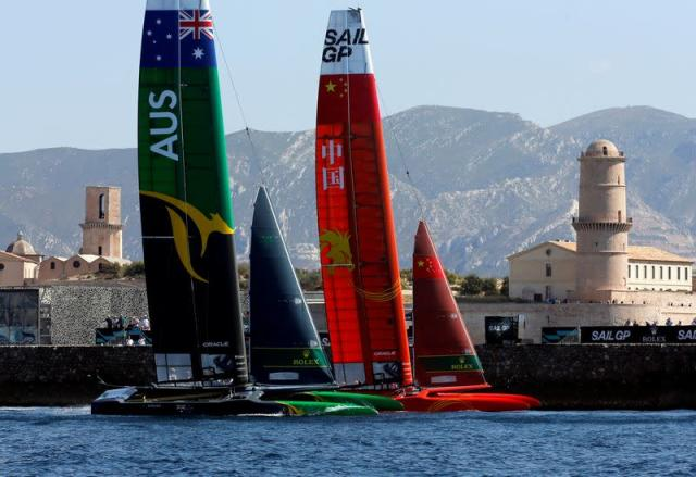 FILE PHOTO: Australia SailGP Team and China Sail GP Team compete during the day one of the SailGP event in Marseille