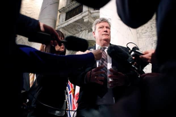 Rich Coleman, the former minister responsible for gaming, speaks to media on Feb. 15, 2017 in Victoria, B.C. The Cullen Commision has heard one of Coleman's fellow MLAs in 2009 said Coleman was more concerned with revenue from casinos in B.C.'s Lower Mainland than he was with fighting organized crime.