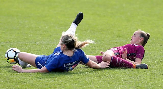 Soccer Football - Women's FA Cup Semi Final - Chelsea vs Manchester City - The Cherry Red Records Stadium, London, Britain - April 15, 2018 Chelsea's Gemma Davison in action with Manchester City's Georgia Stanway Action Images/Peter Cziborra