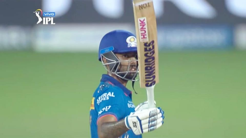 Suryakumar Yadav is seen here marking his half century for Mumbai.