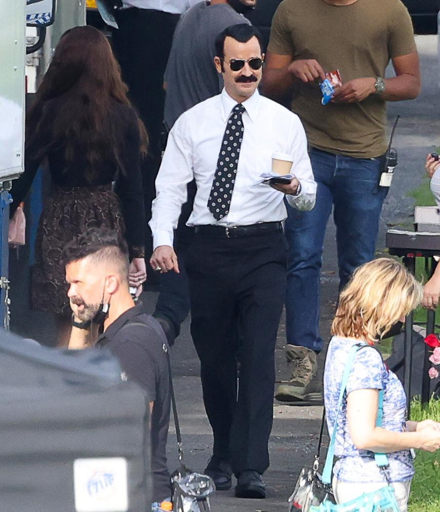 <p>Justin Theroux is spotted on the set of <em>The White House Plumbers</em> in Upstate New York on Aug. 31.</p>
