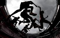 <p>Athletes compete during round one of the men's 3000m steeplechase heats on day seven.</p>