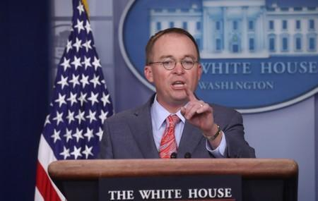 Acting White House Chief of Staff Mulvaney addresses media briefing at the White House in Washington