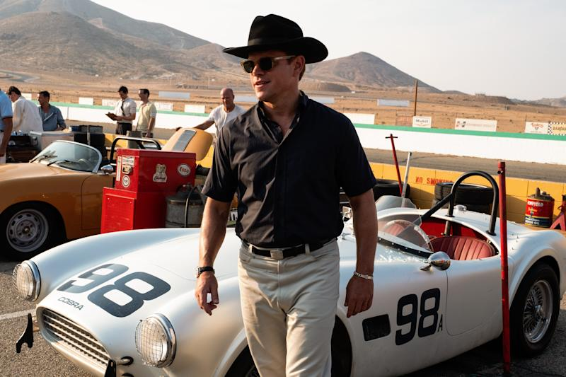 "Car designer Carroll Shelby (Matt Damon) is hired to create an innovative machine in ""Ford v Ferrari."""