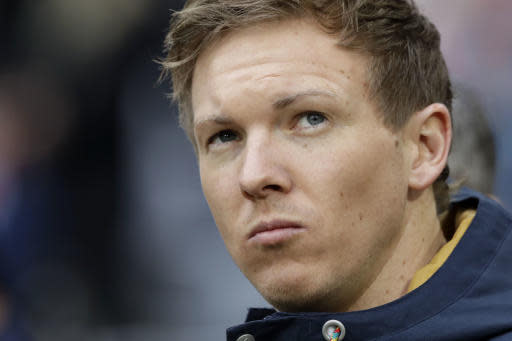 FILE - In this Jan, 27, 2018 file photo Hoffenheim coach Julian Nagelsmann arrives for the German Soccer Bundesliga match between FC Bayern Munich and TSG 1899 Hoffenheim in Munich, Germany. (AP Photo/Matthias Schrader, file)