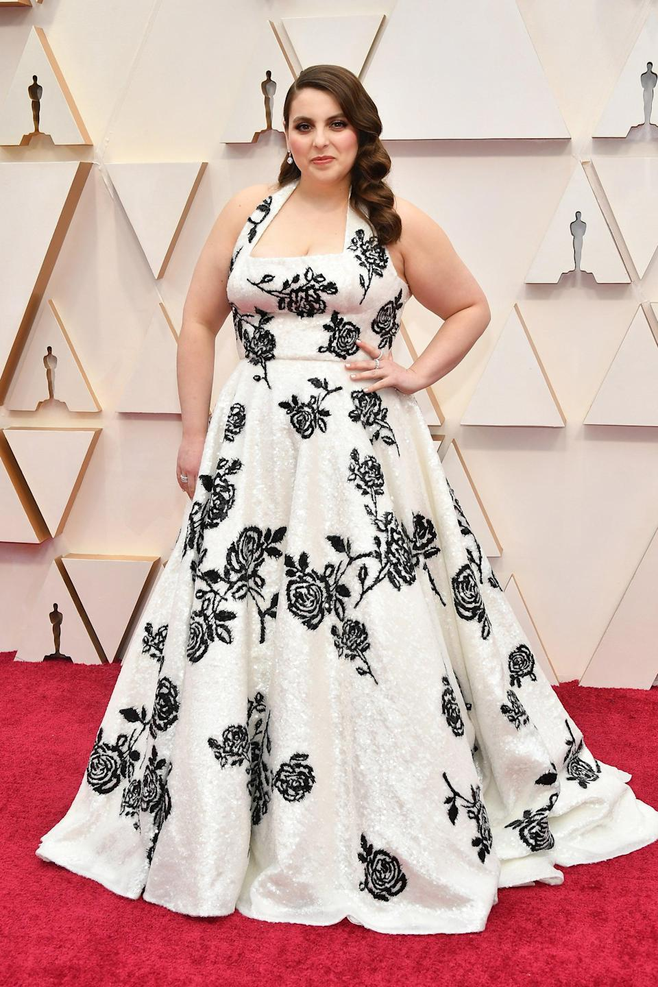 """<h2>Beanie Feldstein, 2020</h2><br>We'll never grow tired of Beanie Feldstein wearing Miu Miu on the red carpet. <br><br><em>Beanie Feldstein in custom Miu Miu. </em><span class=""""copyright""""> Photo: Amy Sussman/Getty Images.</span>"""