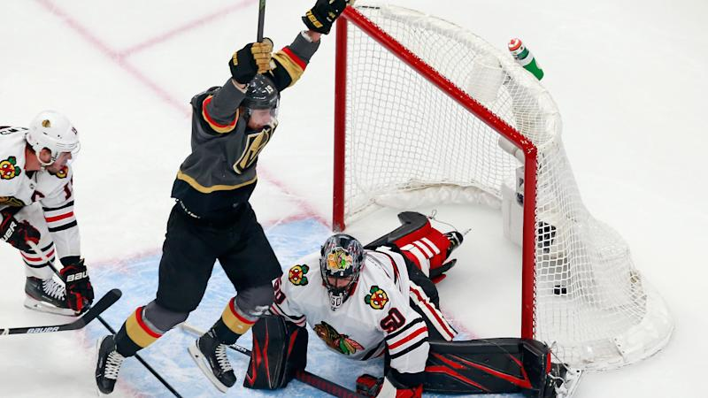 EDMONTON, ALBERTA - AUGUST 13: Reilly Smith #19 of the Vegas Golden Knights scores the game-winning goal at 7:13 of overtime against the Chicago Blackhawks to win the game 4-3 in Game Two of the Western Conference First Round during the 2020 NHL Stanley Cup Playoffs at Rogers Place on August 13, 2020 in Edmonton, Alberta, Canada. (Photo by Jeff Vinnick/Getty Images)