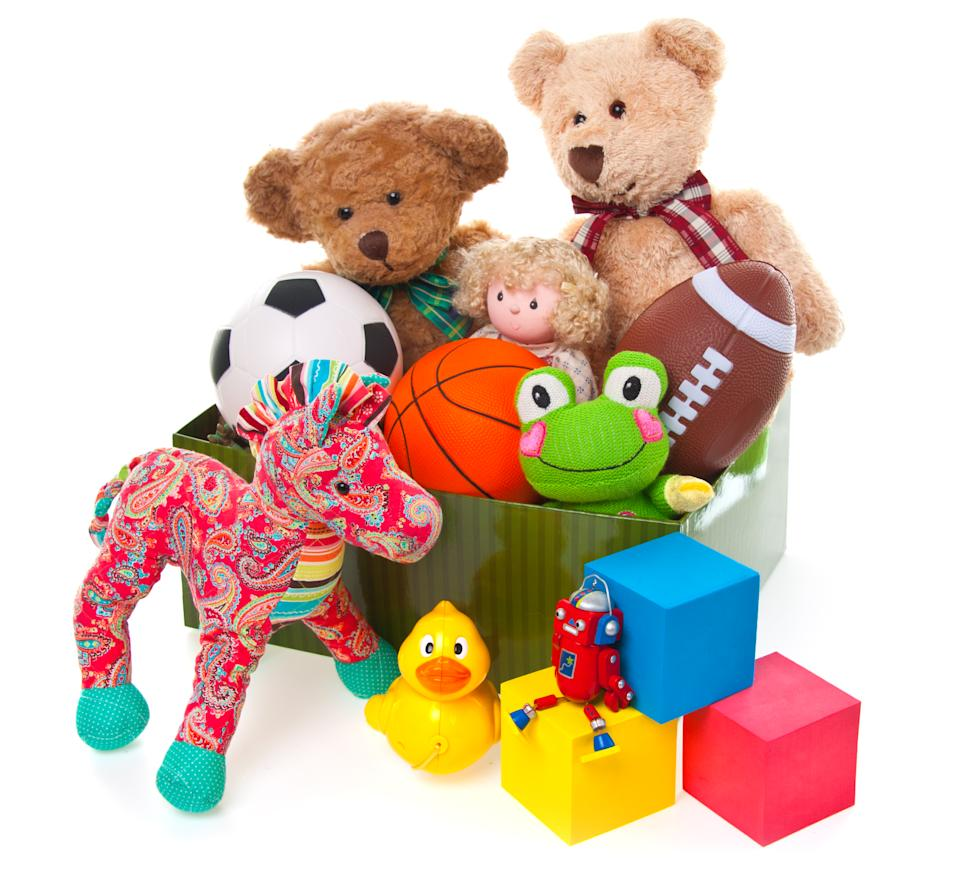 Donation Box Full of Toys and Stuffed Animals