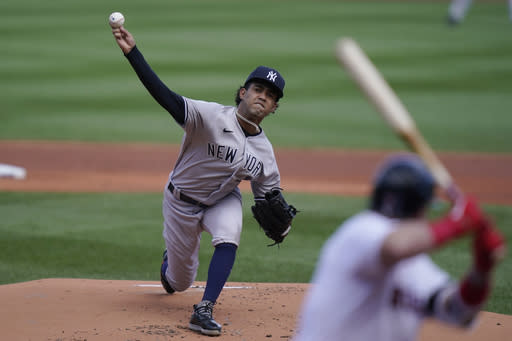 New York Yankees' Deivi Garcia delivers a pitch against the Boston Red Sox in the first inning of a baseball game Sunday, Sept. 20, 2020, in Boston. (AP Photo/Steven Senne)