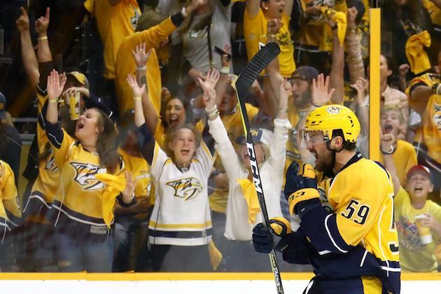 NASHVILLE, TN – JUNE 03: Roman Josi #59 of the Nashville Predators celebrates his goal at 4:51 of the second period against the Pittsburgh Penguins in Game Three of the 2017 NHL Stanley Cup Final at the Bridgestone Arena on June 3, 2017 in Nashville, Tennessee. (Photo by Bruce Bennett/Getty Images)