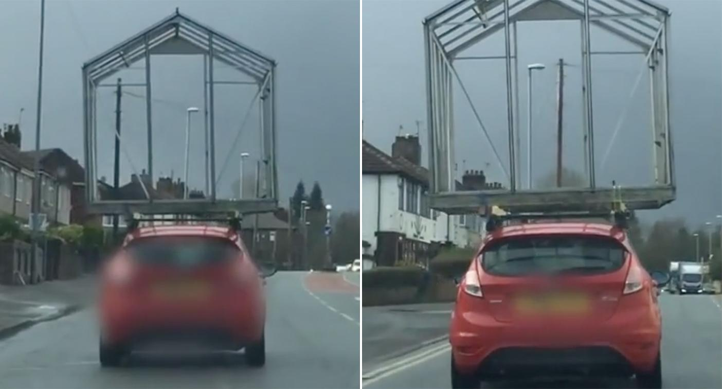 Driver spotted with greenhouse on roof