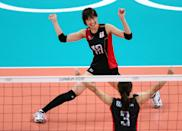 LONDON, ENGLAND - AUGUST 01: Saori Kimura #18 and Yoshie Takeshita #3 of Japan celebrate a point in the second set against Dominican Republic during Women's Volleyball on Day 5 of the London 2012 Olympic Games at Earls Court on August 1, 2012 in London, England. (Photo by Elsa/Getty Images)