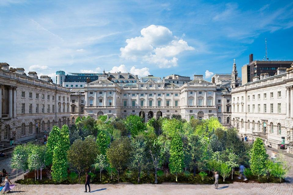 <p>A rendering of the installation Forest for Change at Somerset House for the London Design Biennale</p> (EsDevlin Studio)