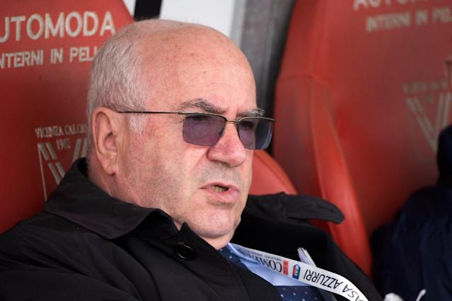 Carlo Tavecchio attends a FIFA Women's World Cup qualifier at the Romeo Menti stadium on April 5, 2014 in Vicenza (AFP Photo/Alberto Lingria)