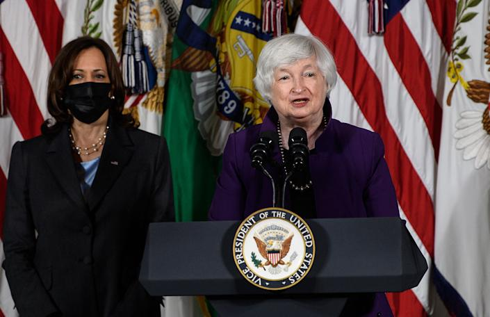 US Treasury Secretary Janet Yellen, with Vice President Kamala Harris, speak about childcare at the Treasury Department in Washington, DC, on September 15, 2021. (Photo by Nicholas Kamm / AFP) (Photo by NICHOLAS KAMM/AFP via Getty Images)