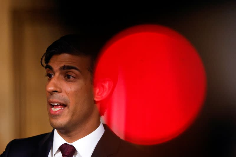 Britain's Chancellor of the Exchequer Rishi Sunak speaks during a virtual news conference, in London