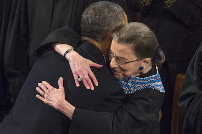 President Obama greets Supreme Court Justice Ruth Bader Ginsburg before his State of the Union address in January.