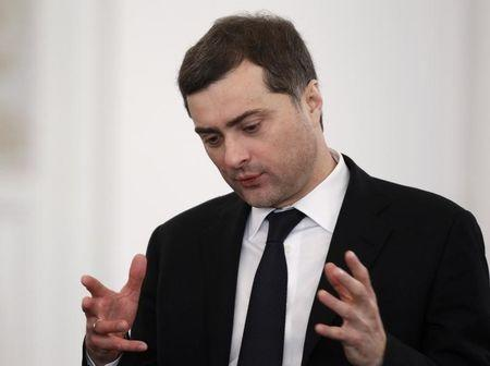 FILE PHOTO: Top-level Kremlin advisor Vladislav Surkov speaks before then Russia's President Dmitry Medvedev's last annual state of the nation address at the Kremlin in Moscow December 22, 2011.  REUTERS/Sergei Karpukhin