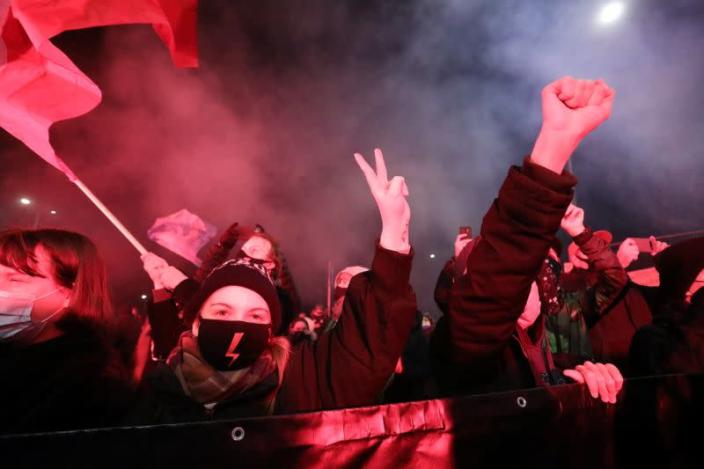 Protest against verdict restricting abortion rights, in Warsaw