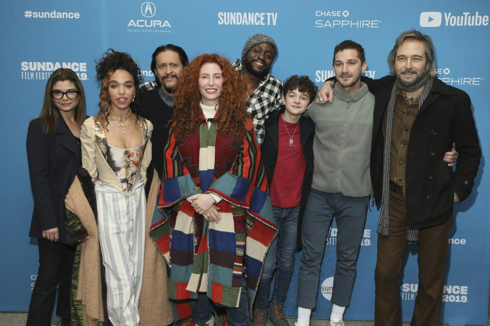 FKA Twigs (second from left), Alma Har'el (fourth from left) and Shia LaBeouf (second from right) at the 2019 Sundance Film Festival premiere of 'Honey Boy'. (Photo by Danny Moloshok/Invision/AP)
