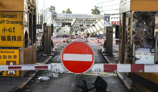 Torched toll booths at the Cross-Harbour Tunnel. Photo: Winson Wong