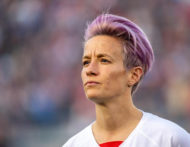 The USWNT star's parents are still extremely supportive of her, and they have a great relationship. Their beliefs, Rapinoe said, just don't quite line up with hers yet. (Shaun Clark/Getty Images)