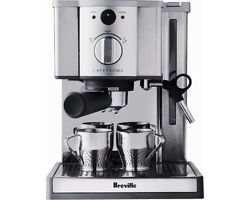 <b>Breville Cafe Roma Espresso Maker</b><br><br>The Breville Cafe Roma Espresso Maker makes it easier than ever to create the rich flavour and perfect-pitch sweetness of espresso, cappuccino, and lattes in your own home. From just the right amount of crema, to palette soothing warmth, this stylish machine's 15-bar pump and Thermoblock heating system delivers remarkable results in every extraction. Available at Best Buy and other major retailers, suggested price $199.99.