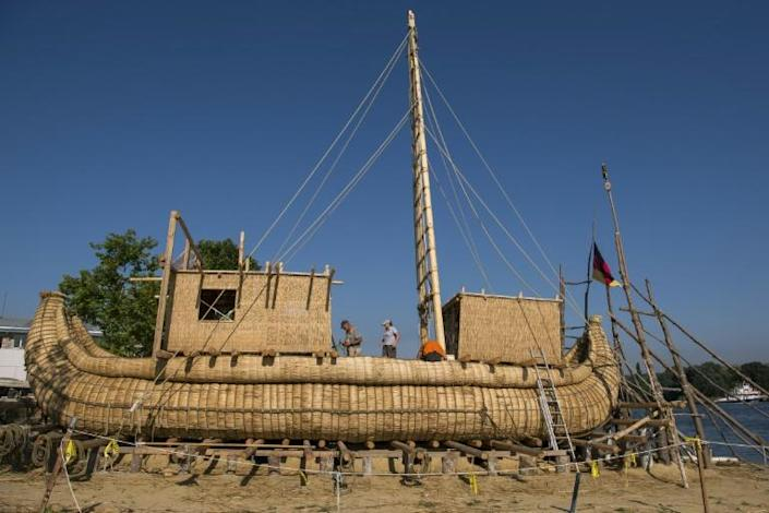 Goerlitz and his team say they drew inspiration for the design of the 14-metre boat from ancient rock drawings from upper Egypt and the Caucasus (AFP Photo/NIKOLAY DOYCHINOV)