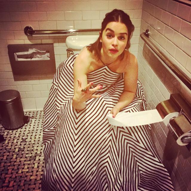 "<p>The <em>Game of Thrones</em> star is the Queen of Meereen and Mother of Dragons, she can do whatever she wants — and here she does. Back before she <a href=""https://www.yahoo.com/lifestyle/tagged/emilia-clarke/"" data-ylk=""slk:dyed her hair to really look like Daenerys Targaryen"" class=""link rapid-noclick-resp"">dyed her hair to really look like Daenerys Targaryen</a>, she clowned around on the can. ""lil' help here…?"" she wrote. ""Big dress, big problems."" (Photo: <a href=""https://www.instagram.com/p/4frn3Xo1OV/?hl=en&taken-by=emilia_clarke"" rel=""nofollow noopener"" target=""_blank"" data-ylk=""slk:Emilia Clarke via Instagram"" class=""link rapid-noclick-resp"">Emilia Clarke via Instagram</a>) </p>"
