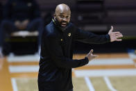 Missouri coach Cuonzo Martin yells during the team's NCAA college basketball game against Tennessee on Saturday, Jan. 23, 2021, in Knoxville, Tenn. (Calvin Mattheis/Knoxville New-Sentinel via AP, Pool)