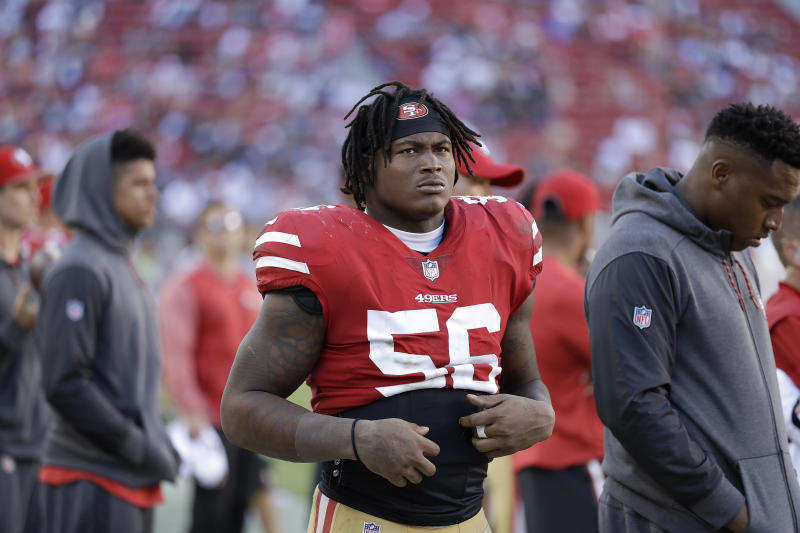 49ers linebacker Reuben Foster (56) was arrested in February on a domestic violence allegation. (AP)