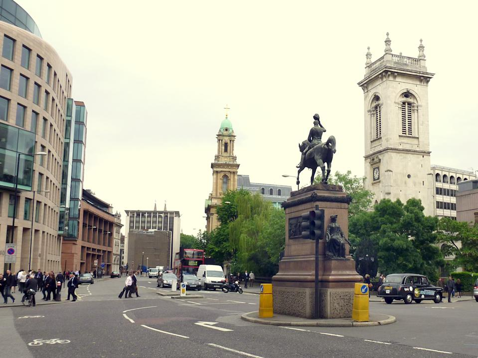 Holborn Circus, London: It has previously been described by Dickens as 'the finest piece of street architecture in London', but planners want to move the iconic statue at the centre of this landmark to one side. (Alan McFaden/The Victorian Society)