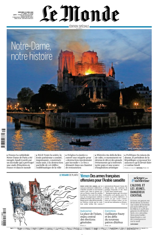 <p>Another one of the main French newspapers, the caption translates to 'Notre Dame (Our Lady), notre histoire (our history)'. (Twitter) </p>