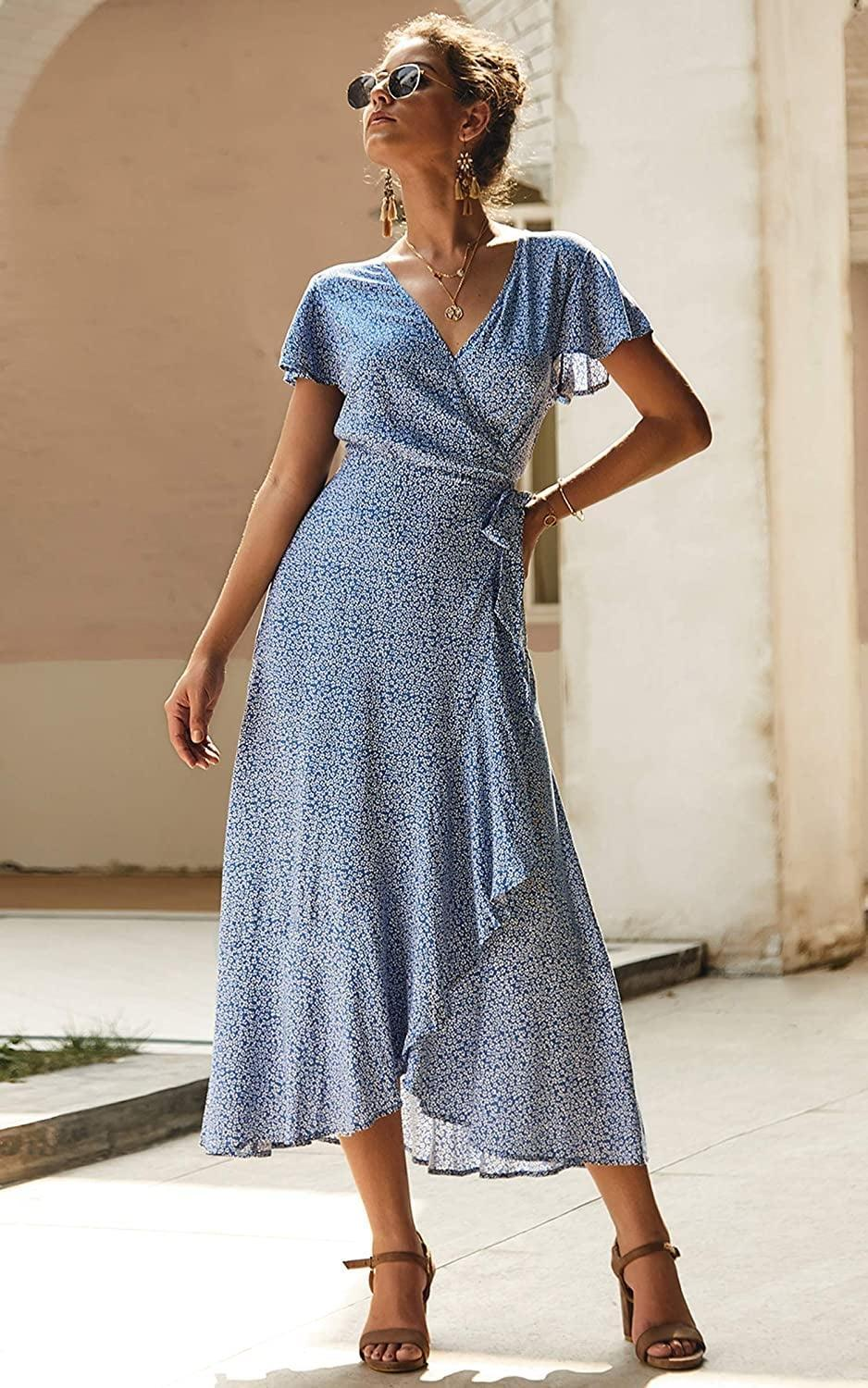 <p>This <span>Ecowish Wrap V Neck Maxi Dress</span> ($20-$31) is both comfy and flattering.</p>